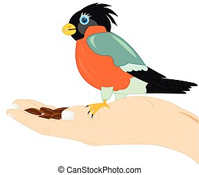 Birdie on palm of the person