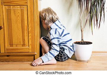 Sad boy turned away - Sad cute little blonde boy turned away...