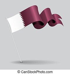 Qatari pin wavy flag. Vector illustration. - Qatari pin icon...
