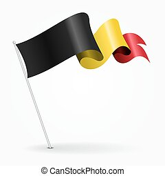 Belgian pin wavy flag. illustration. - Belgian pin icon wavy...