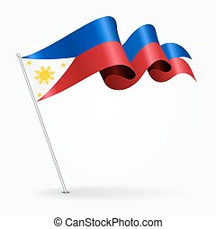 Philippines pin wavy flag. Vector illustration. -...