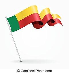 Benin pin wavy flag. Vector illustration. - Benin pin icon...