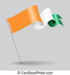 Cote d Ivoire pin wavy flag. Vector illustration. - Cote d...
