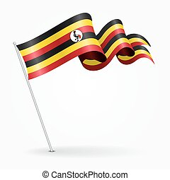 Ugandan pin wavy flag. Vector illustration. - Ugandan pin...