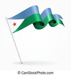 Djibouti pin wavy flag. Vector illustration. - Djibouti pin...
