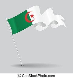 Algerian pin wavy flag. Vector illustration. - Algerian pin...