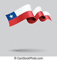 Chilean pin wavy flag. Vector illustration. - Chilean pin...