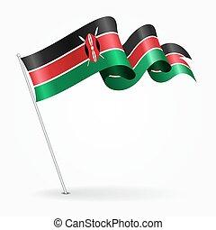 Kenyan pin wavy flag. illustration. - Kenyan pin icon wavy...