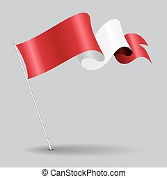 Peruvian pin wavy flag. Vector illustration. - Peruvian pin...