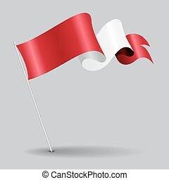 Peruvian pin wavy flag. Vector illustration. - Peruvian pin...