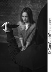 Barbaric evil abductor raising a knife - It gonna hurt a...