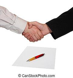 Handshake, paper and pen