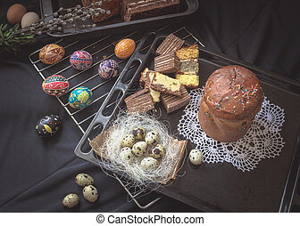 Easter Still Life with traditional holiday elements. Eggs,...