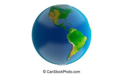 Earth on White Background 4K