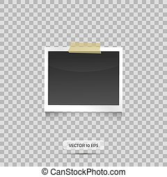 Blank Photo frame hanging on a duck tape . Transparent...