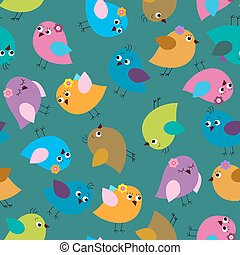 Cute seamless background with bright birds on a green background