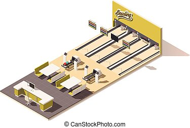 Vector isometric low poly bowling alley interior - Vector...