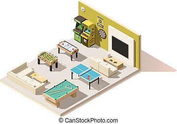 Vector isometric low poly recreation room interior