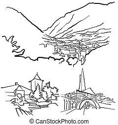 Andorra la Vella Famous Buildings, Monochrome Outlined...