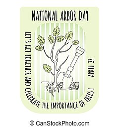 Arbor Day icon. Young oak tree. Vector illustration.