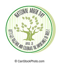 Arbor Day icon. Oak tree. Vector illustration. - Arbor Day...