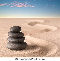 spa wellness treatment, concept of Japanese zen garden