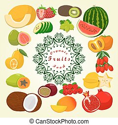 The set fruits - Abstract vector illustration...