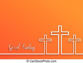 Illustration of Cross for Good Friday on orange...
