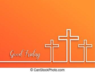 Illustration of Cross for Good Friday on orange...