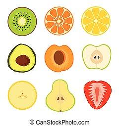 set fruit sliced