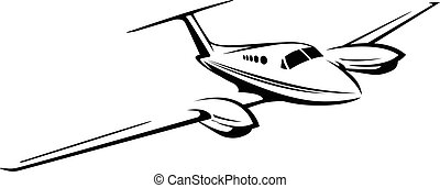 Small private twin engine airplane illustration - Sharp...