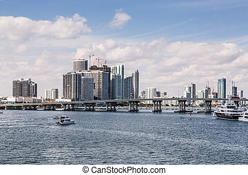Miami Skyline Across Biscayne Bay with Yachts