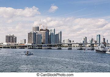 Miami Skyline Across Biscayne Bay with Yachts