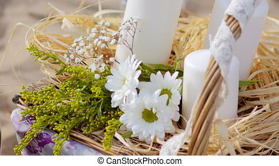 picnic basket, wine glasses, flowers and candles - picnic...