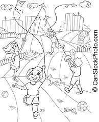 Children coloring vector game kite flying. Zentangle style....