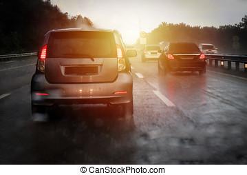 Highway traffic jam during heavy raining day at Malaysia...