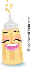Mustard Sauce Mascot - Vector Illustration of Mustard Sauce...