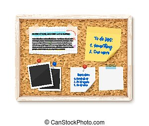 Bulletin board with photos, post it notes and torn paper pieces