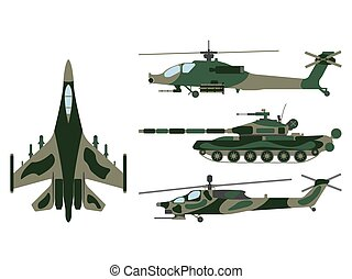 Fighter aircraft, tank, helicopter cartoon. Military equipment set icon. Vector illustration