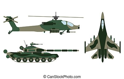 Fighter aircraft, tank, helicopter cartoon. Military...
