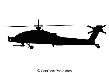 Helicopter silhouette. Military equipment icon. Vector...