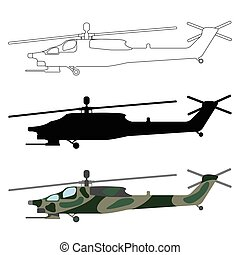 Helicopter silhouette, cartoon, outline. Military equipment...