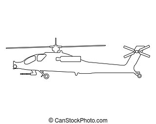 Helicopter outline. Military equipment icon. Vector...