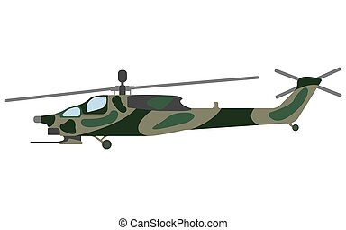 Cartoon helicopter. Military equipment icon. Vector...