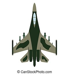 Fighter aircraft cartoon. Military equipment icon. Vector...