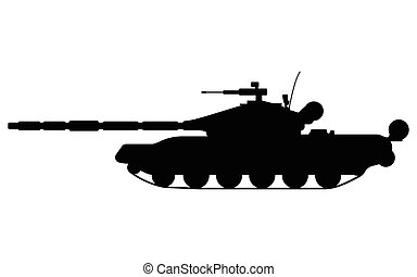 Tank silhouette. Military equipment icon. Vector...