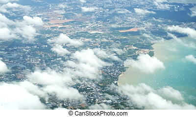 Aerial View of a Heavily Developed Region of Thailand. -...