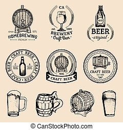 Old brewery logos set. Kraft beer retro images with hand...