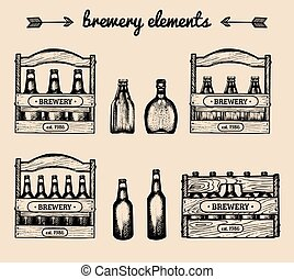 Vector set of vintage brewery elements.Retro collection with...