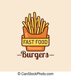 Vector vintage fast food logo. Retro fry potatoes sign. Bistro icon. Eatery emblem for street restaurant, cafe etc.